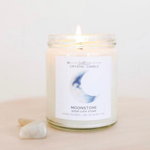 JaxKelly Moonstone Candle-Brings Good Luck