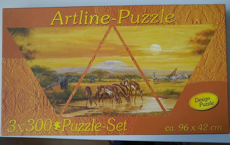Puzzle 3*300 Teile dreieckig, neu, eingeschweißt