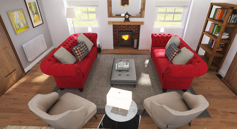 Red velvet chesterfields classic seating layout