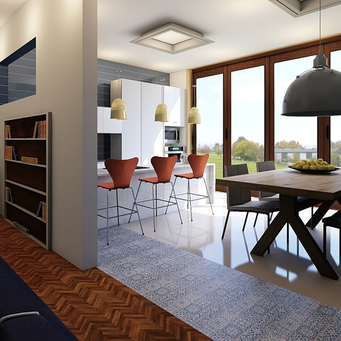 Cross section living room, kitchen