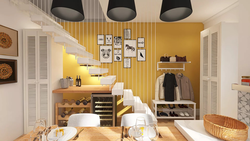 Bright yellow hallway and suspended staircase
