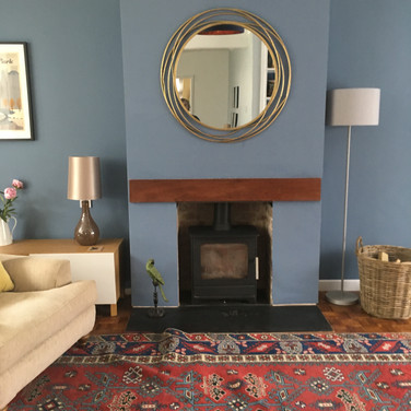 Fireplace and mirror focal point