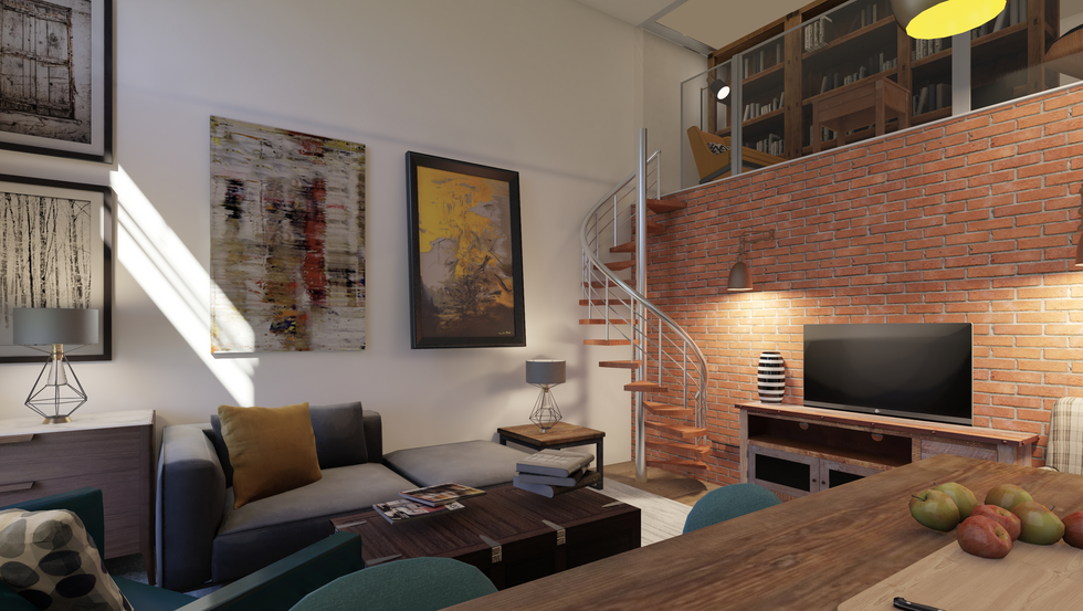Large scale artwork and red brick facing