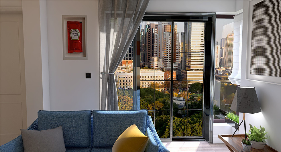New flat, high ceilings and city views