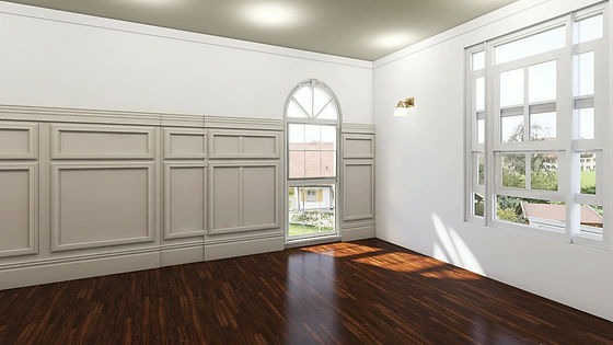 Photo-realistic view of before interior sitting room with furniture, decor, lighting added