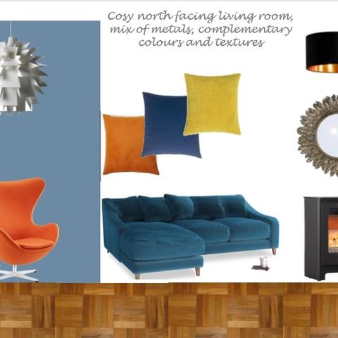 Retro living room concept board