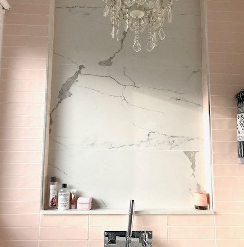 Faux marble tiles inset and chandelier
