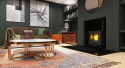 6 Living room green shelves
