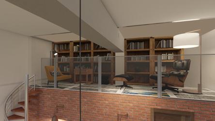 Mezzanine floor with glass balustrade