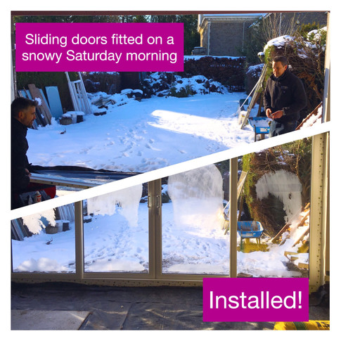 Sliding doors go in on a wintery day