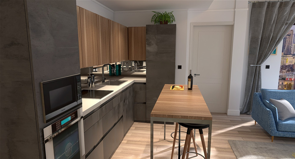 London flat Living, kitchen area