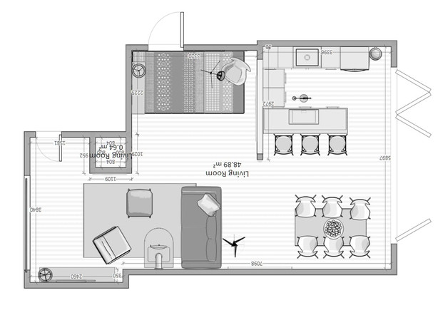 Open plan floorplan with extension