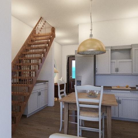 Kitchen and staircase, glimpse of front door