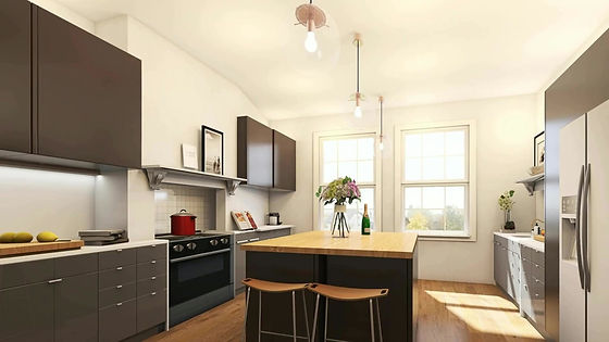 Visualisations of interiors of different style kitchens for actual clients actual space
