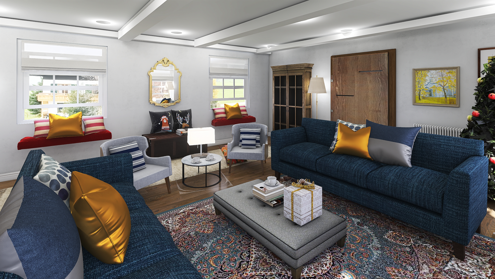 Option of Navy sofas coordinate with vintage rug