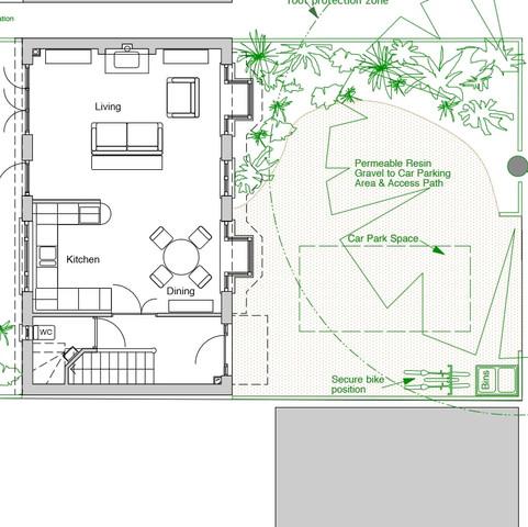Ground floor plan. garden and carport