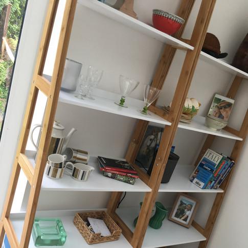 Ladder shelves in dining room