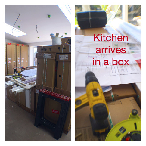 Kitchen arrived in boxes