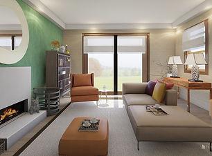 Modern asian living room sliding doors v