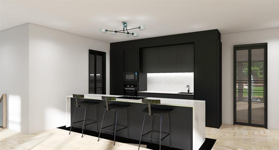 Black and quartz Japandi  kitchen