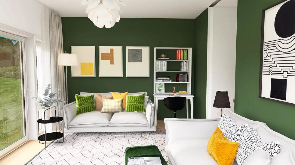 Living room, F&B Duck Green, black and white decor