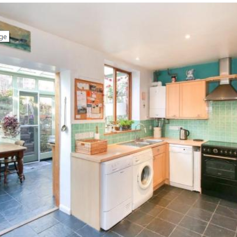 Kitchen with conservatory view