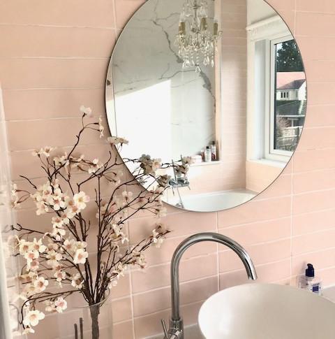 Pale dusty pink matt tiles