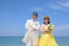 タキシード・カラードレス・海・空・沖縄・アラハビーチ