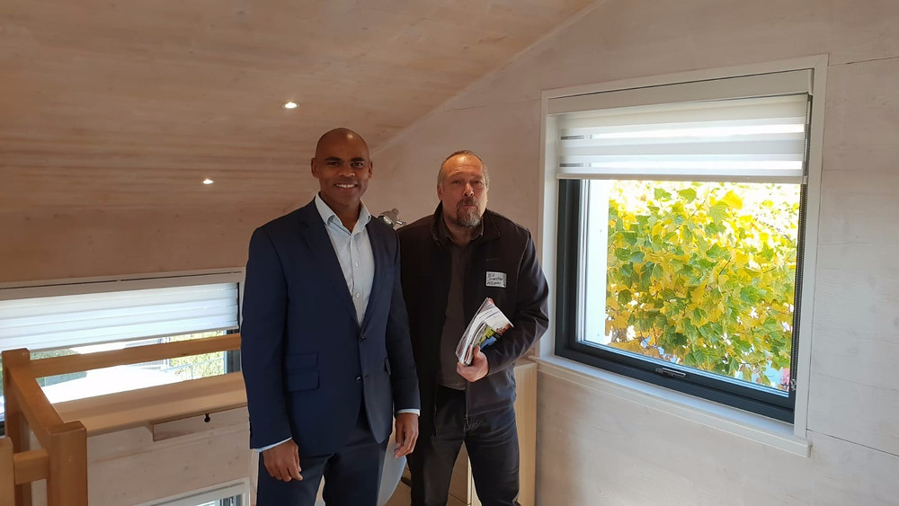 Bristol's mayor Marvin Rees with Bill Dunster upstairs at the ZED Pod