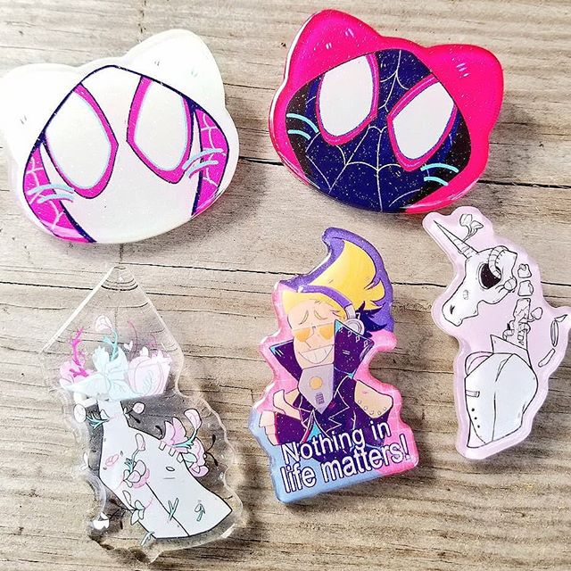Glitter epoxy acrylics pins for katsucon