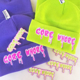 _GORE WHORE_ beanies and iron-on patches