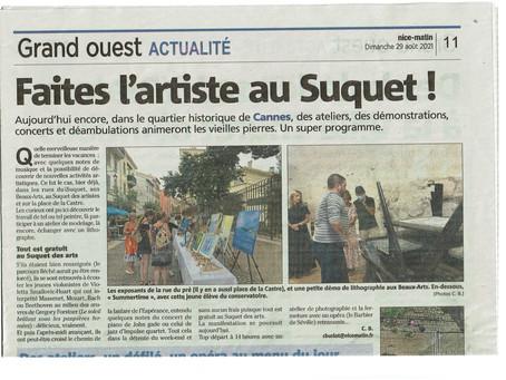 Un bel article sur le dernier week-end du Suquet Des Arts à Cannes où l'on y parle des Beaux-Arts 🙂