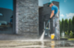 Pressure Washer Cleaning in Front of the