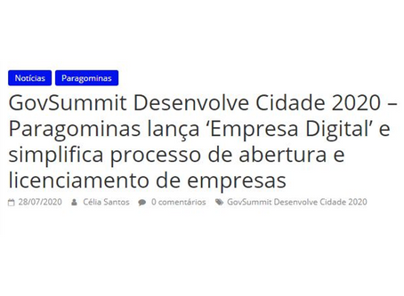 GovSummit Desenvolve Cidade 2020 – Paragominas lança 'Empresa Digital'