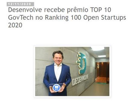 Desenvolve recebe prêmio TOP 10 GovTech no Ranking 100 Open Startups 2020