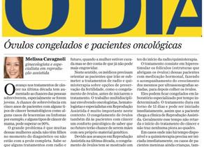 Matéria no Jornal O Dia sobre Congelamento de óvulos em pacientes oncológicas