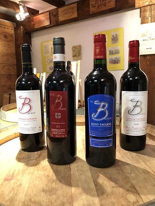 Grands vins de la marque B de BOSC, appelations Bordeaux Supérieur, Pomerol, Saint-Émilion et Côtes de Castillon.