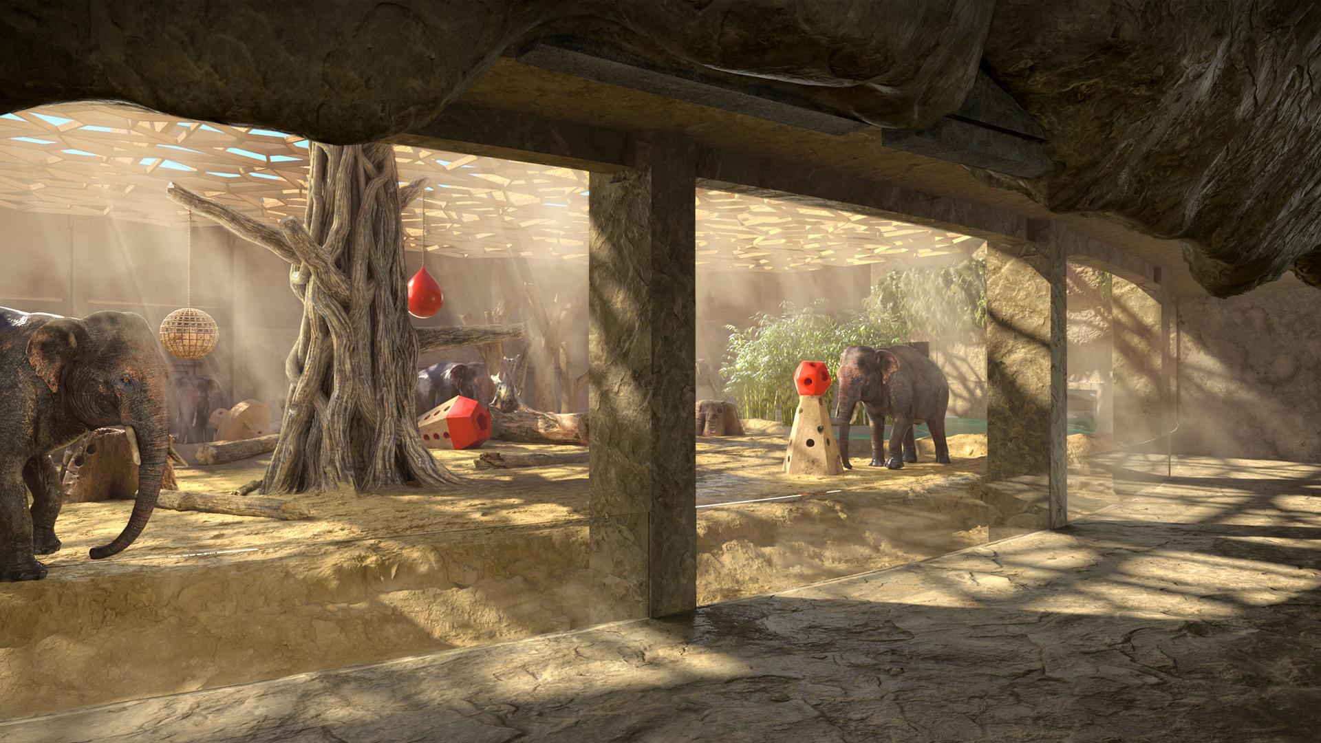 Orientarium - wizualizacja wybiegu słoni