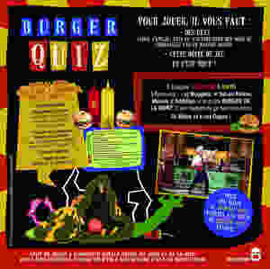 Arriére de la boite du jeu de société Burger Quizz