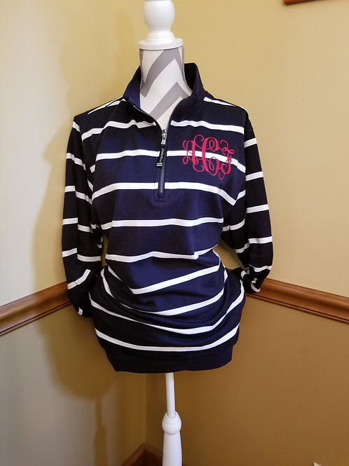 striped 1/4 zip with pockets
