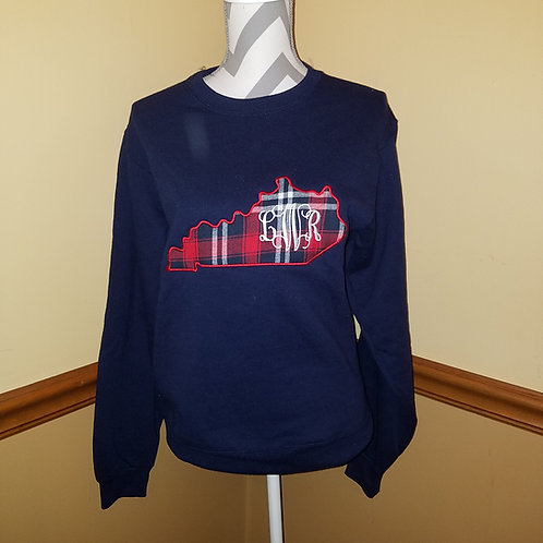 Navy crewneck sweatshirt with red plaid
