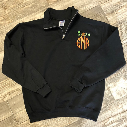 Pumpkin Monogram 1/4 Zip (plus sizes 2xlg to 3xlg )