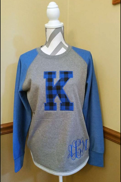 K Plaid Monogram High Low