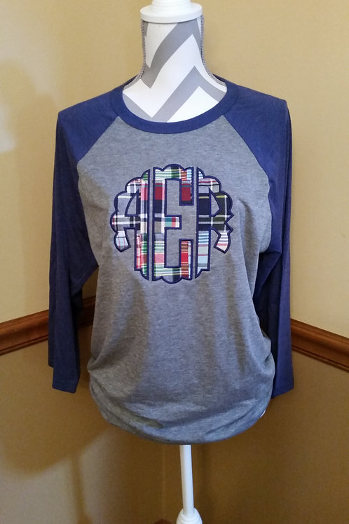 Navy Plaid Scallop initials baseball tee