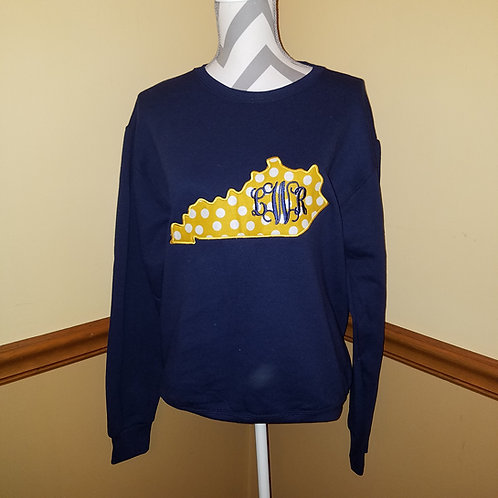 Navy crewneck sweatshirt with mustard polka dot