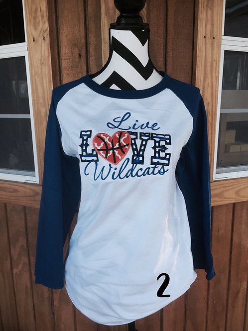 Live Love Wildcats  Raglan
