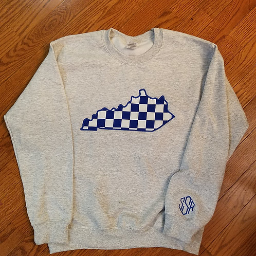 KY checkered crewneck
