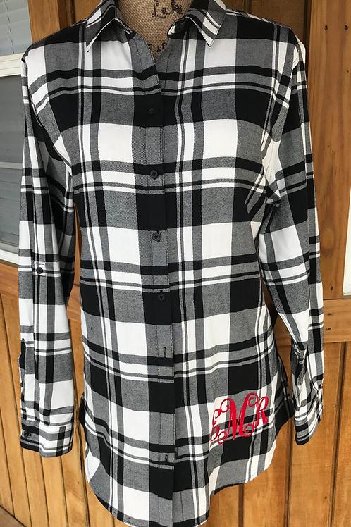 Ladies Plaid Flannel Tunic (Monogramed)