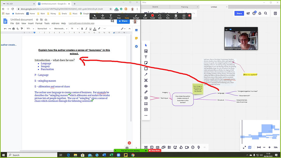 Example of an online lesson using Miro and Google Docs