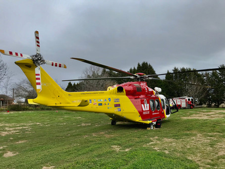 An explosion, a falling tree and a cow cause freak accidents keeping the rescue helicopter busy